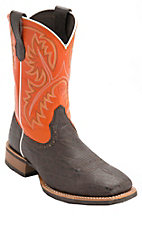 Ariat® Quickdraw™ Mens Chocolate Elephant Print w/Orange Top Square Toe Western Boot