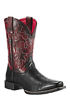 Ariat Reinsman Men's Black Deertan w/ Maroon Top Punchy Square Toe Western Boot