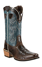 Ariat Rawhide Men's Thunder Brown w/Beach Side Blue Top Square Toe Western Boots