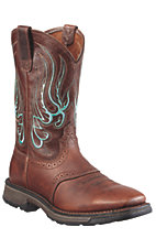Ariat® Workhog Mesteno™ Men's Brown Oiled Rowdy Square Toe Western Work Boots