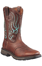 Ariat® Workhog Mesteno™ Men's Brown Oiled Rowdy Square SteelToe Western Work BootAriat® Workhog Mesteno™ Men's Brown Oiled