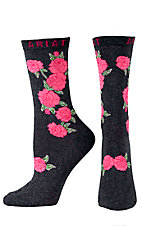 Ariat® Women's Charcoal Grey with Roses Ankle Sock