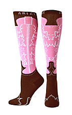 Ariat® Women's Pink and Brown Western Boot Knee High Socks