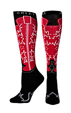 Ariat® Women's Red and Black Western Boot Knee High Socks