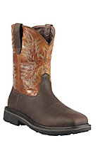 Ariat Sierra Men's Dark Brown w/ Pecan Wide Square Steel Toe Pull On Western Work Boots