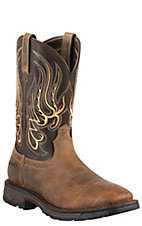 Ariat Workhog Mesteno Men's Earth Brown Square Toe Western Work Boots