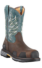 Ariat Overdrive Men's Dark Brown w/ Blue Ice Composite Round Toe Western Work Boots