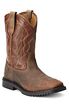 Ariat Rigtek Men's Earth Brown Sqaure Toe Slip-On Workboots