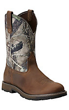 Ariat Groundbreaker Men's Distressed Brown with Camo Top Slip-On Workboots