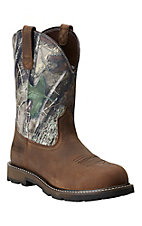 Ariat Groundbreaker Men's Distressed Brown with Camo Top Steel Toe Slip-On Workboots