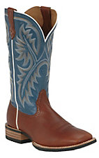 Ariat® Quickdraw™ Men's Cedar Brown with Bright Blue Wide Square Toe Western Boots