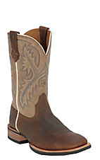 Ariat Quickdraw Men's Tumbled Bark Brown with Beige Wide Square Toe Western Boots