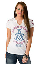 Affliction® American Customs™ Women's White Stars and Bars Motor Spirit Short Sleeve Tee
