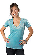Affliction® Women's Turquoise with White Fleur Cross Slim Fit Short Sleeve Burnout Tee