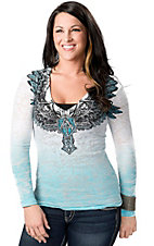 Affliction® Women's Elastic White with Turquoise and Black Winged Cross Short Sleeve Burnout Tee