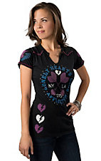 Affliction® Women's American Customs AC Cupid Black with Pink and Blue Heart Arrows Short Sleeve Tee