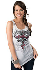Affliction® Women's Daredevil White with Pink & Black Heart and Wings Ribbed Knit Sleeveless Tank Top