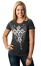 Affliction® Women's Charcoal Grey with White Winged Cross and Fleur Short Sleeve Tee