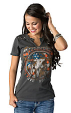 Affliction Women's Vintage Black Desert Ride with Steer Skull Short Sleeve Tee