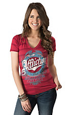 Affliction Women's Scarlet Stripe Cascade Logo V-Neck Short Sleeve Tee