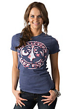 Afflicition Women's Navy Divio with Pink Bandana Short Sleeve Tee