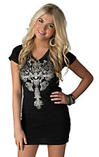 Affliction Women's Black Iron Soul with Winged Cross and Rhinestones Short Sleeve Dress