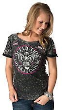 Affliction Women's Speed Trap Black and Grey Open Back Short Sleeve Tee - Reversible