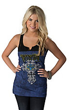 Affliction Women's Kelsey Navy with Black Lace Cross Design Sleeveless Tank Top