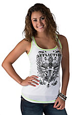 Affliction Women's Regulations White and Neon Green with Winged Cross and Lace Racer Back Tank Top