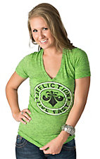 Affliction Women's Devious Lime Green with Black Logo Short Sleeve Tee