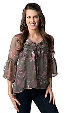 Rock & Roll Cowgirl® Women's Grey with Pink and White Floral 3/4 Sleeve Peasant Fashion Top