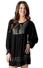 Angie® Women's Black with Light Mint Embroidery Long Sleeves Peasant Dress