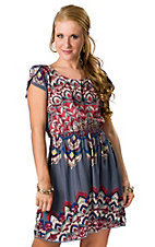Angie® Women's Grey Blue with Red Print Open Back Short Sleeve Dress