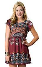 Angie® Women's Wine Red with Blue Print Open Back Short Sleeve Dress