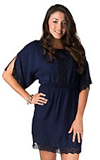 Angie® Women's Navy Lace Cold Shoulder 3/4 Sleeve Dress