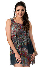 Angie® Women's Blue with Red and Yellow Medallion Print Tie Back Sleeveless Tank Chiffon Dress