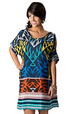Angie® Women's Navy Blue with Multi-Colored Geo Print Cold Shoulder 3/4 Sleeve Dress
