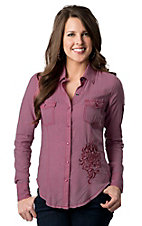 Rock & Roll Cowgirl® Women's Pink with Winged Rose Embroidery Long Sleeve Western Shirt