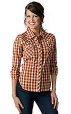 Rock & Roll Cowgirl® Women's Orange & Brown Plaid w/ Winged Cross Embroidery Long Sleeve Western Shirt