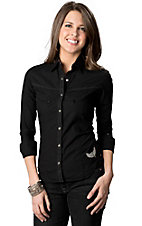 Rock & Roll Cowgirl® Women's Black with Silver Winged Fleur Cross Embroidery Long Sleeve Western Shirt