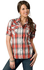 Rock & Roll Cowgirl® Juniors Orange, Grey and Cream Plaid with Embroidery Long Sleeve Western Shirt