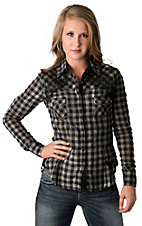 Rock & Roll Cowgirl® Women's Black Check w/ Embroidery Long Sleeve Western Shirt