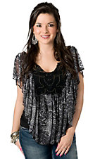 Rock & Roll Cowgirl® Women's Grey and Black Snake Print with Crochet and Studs Short Sleeve Fashion Top