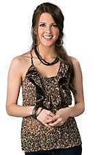 Rock & Roll Cowgirl® Women's Brown Leopard Print with Black Lace Ruffle Front Sleevless Cami Fashion Top