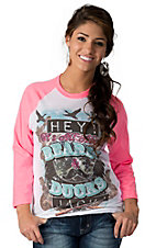 Rebel Rose® Women's White Hey It's All About Beards & Ducks Jack with Pink 3/4 Sleeves Baseball Tee