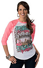 Rebel Rose® Women's White High Class Trailer Trash with Pink 3/4 Sleeves Baseball Tee