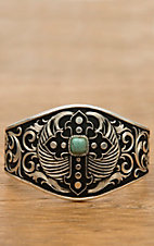 Montana Silversmiths® Silver with Black Winged Cross and Turquoise Cuff Bracelet