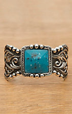 Montana Silversmiths® Silver with Dark Antiquing and Turquoise Stone Cuff Bracelet