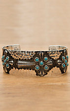 Montana Silversmiths® Silver Hammered with Cross and Turquoise Cuff Bracelet