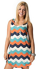 Karlie® Women's Navy, Orange and White Wave Chevron Racer Back Sleeveless Tank Dress